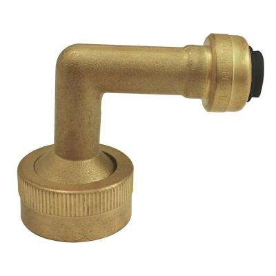 1/4 in. (3/8 in. O.D.) Brass Push-to-Connect x 3/4 in. Garden Hose Thread 90-Degree Dishwasher Elbow