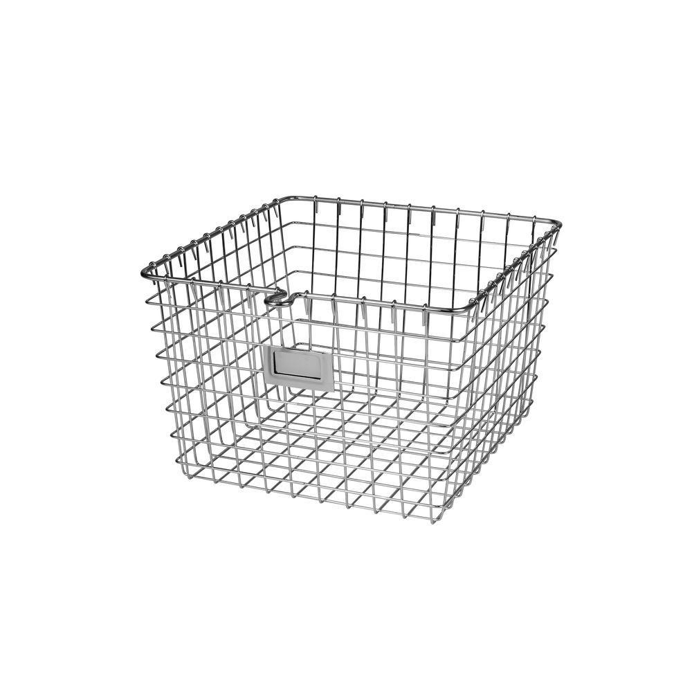 11.875 in. W x 13.75 in. D x 8 in. H Medium Storage Basket in Chrome