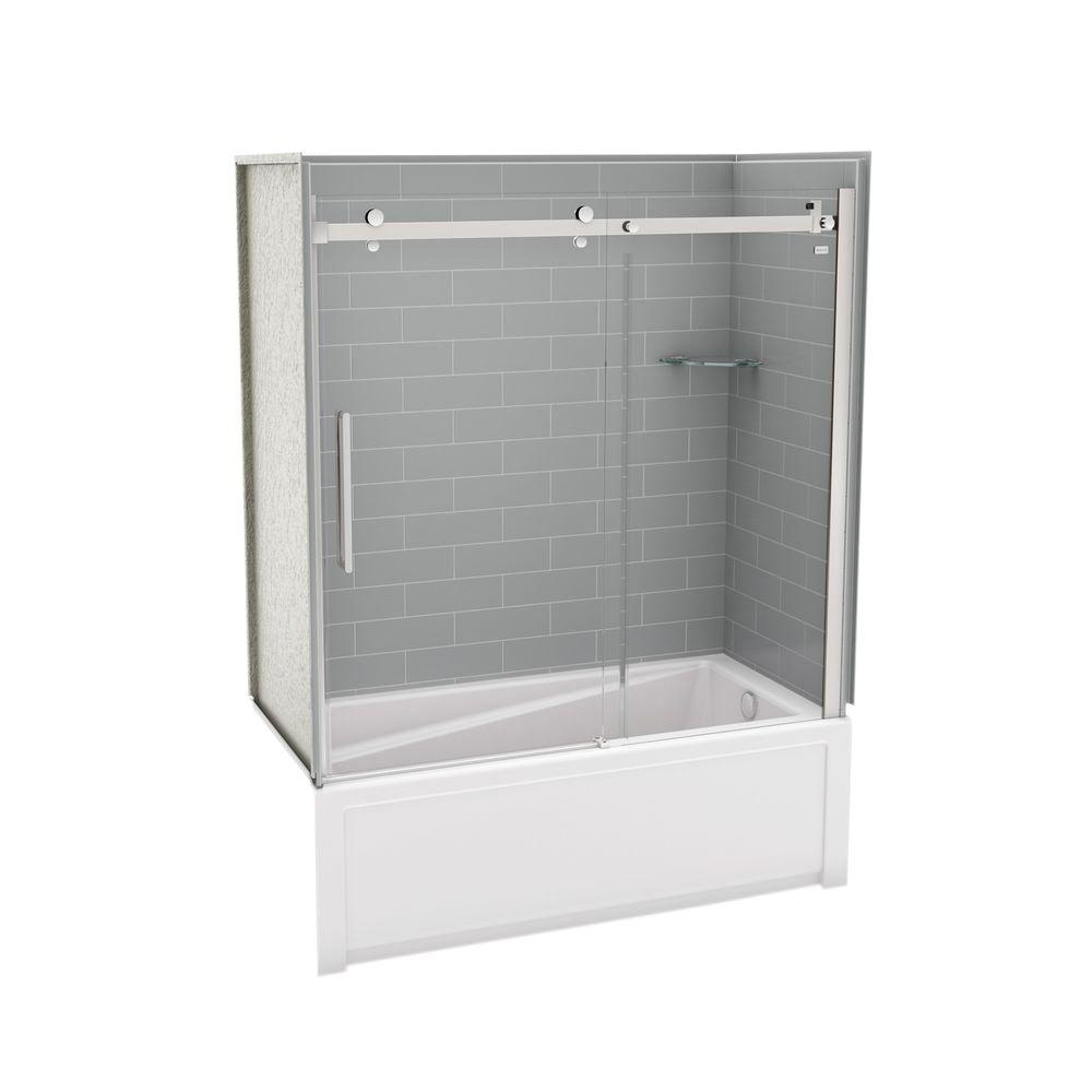 MAAX Utile Metro 30 In. X 59.8 In. X 81.4 In. Right Drain Alcove Bath And  Shower Kit In Ash Grey With Chrome Shower Door 106342 000 001 100   The  Home Depot