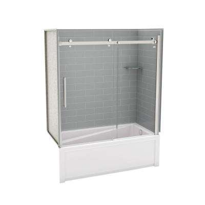 Utile Metro 30 in. x 59.8 in. x 81.4 in. Right Drain Alcove Bath and Shower Kit in Ash Grey with Chrome Shower Door