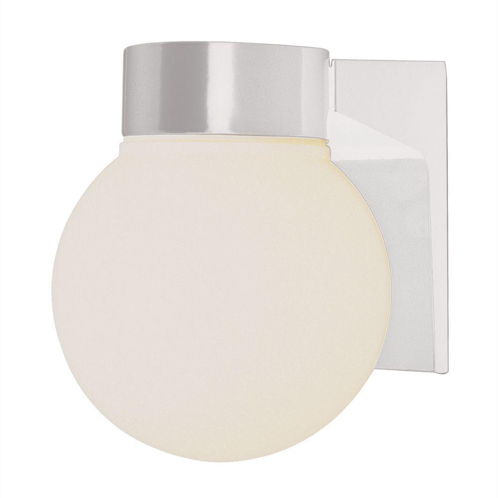 Energy Saving 1-Light Outdoor White Coach Lantern with Opal Glass