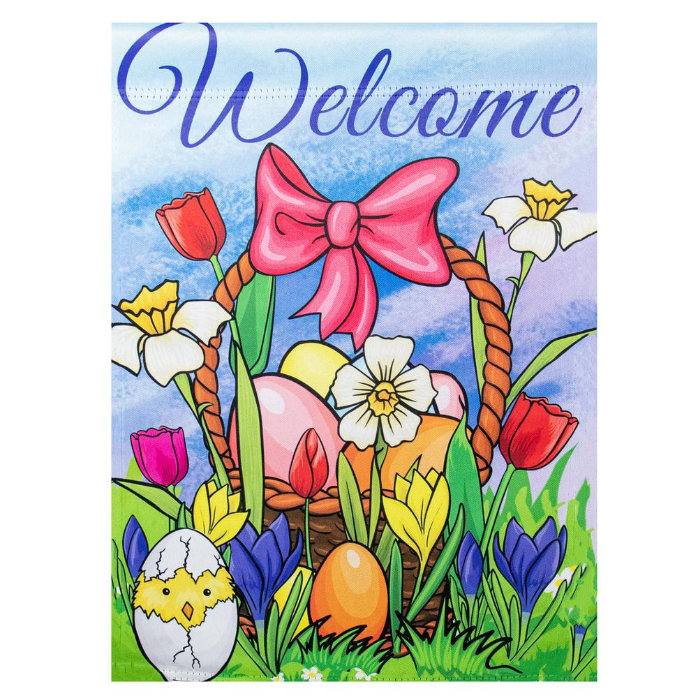Northlight 12 5 In X 18 In Welcome Easter Basket Outdoor Garden Flag 34219471 The Home Depot