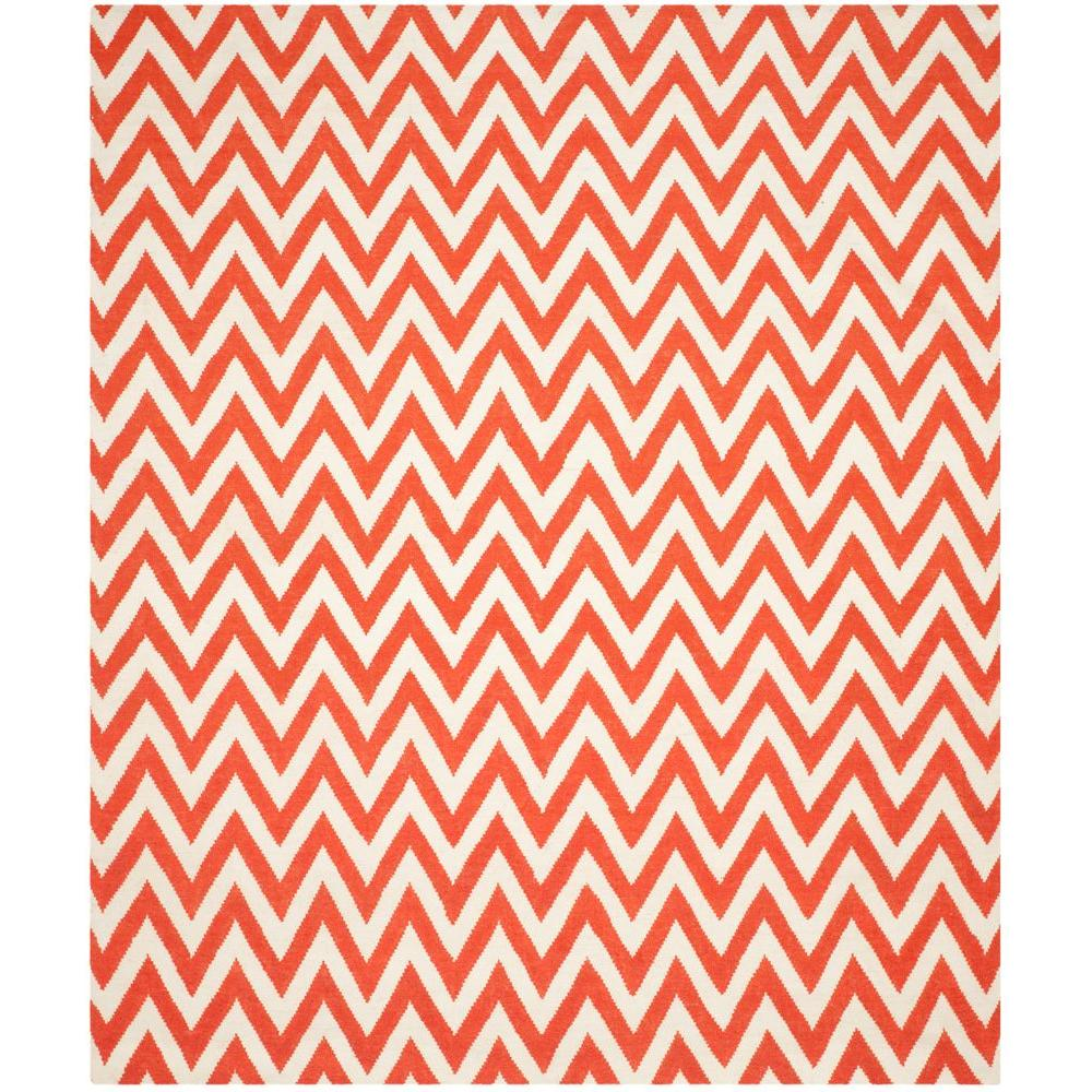 Safavieh Dhurries Red/Ivory 8 ft. x 10 ft. Area Rug