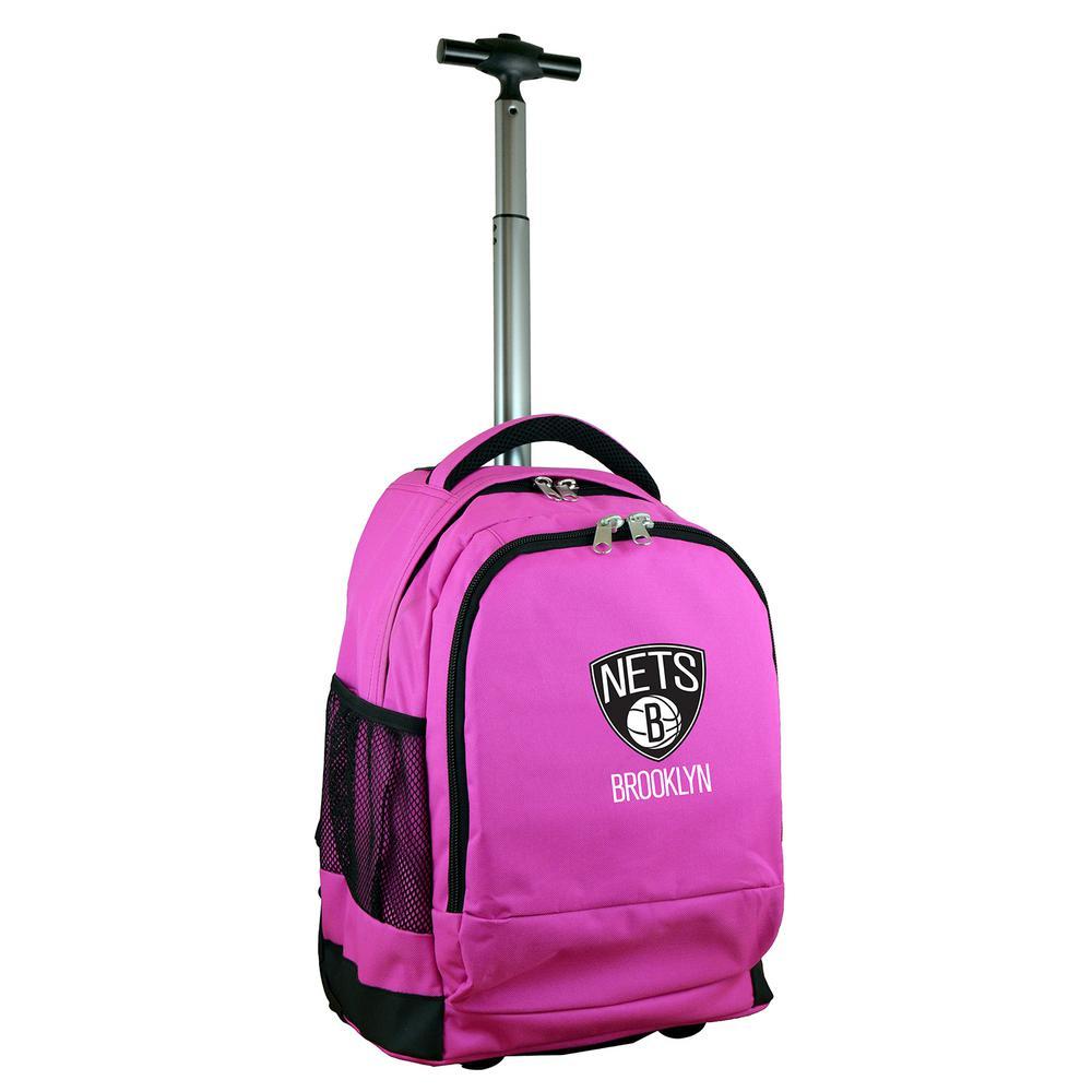 Denco NBA Brooklyn Nets 19 in. Pink Wheeled Premium Backpack
