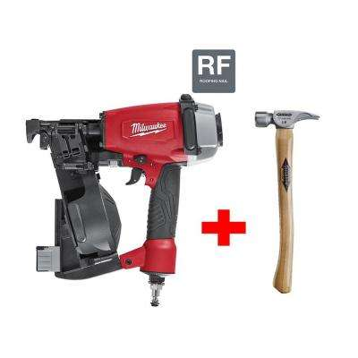 1-3/4 in. Coil Roofing Nailer with 14 oz. Titanium Smooth Face Hammer with 18 in. Curved Hickory Handle