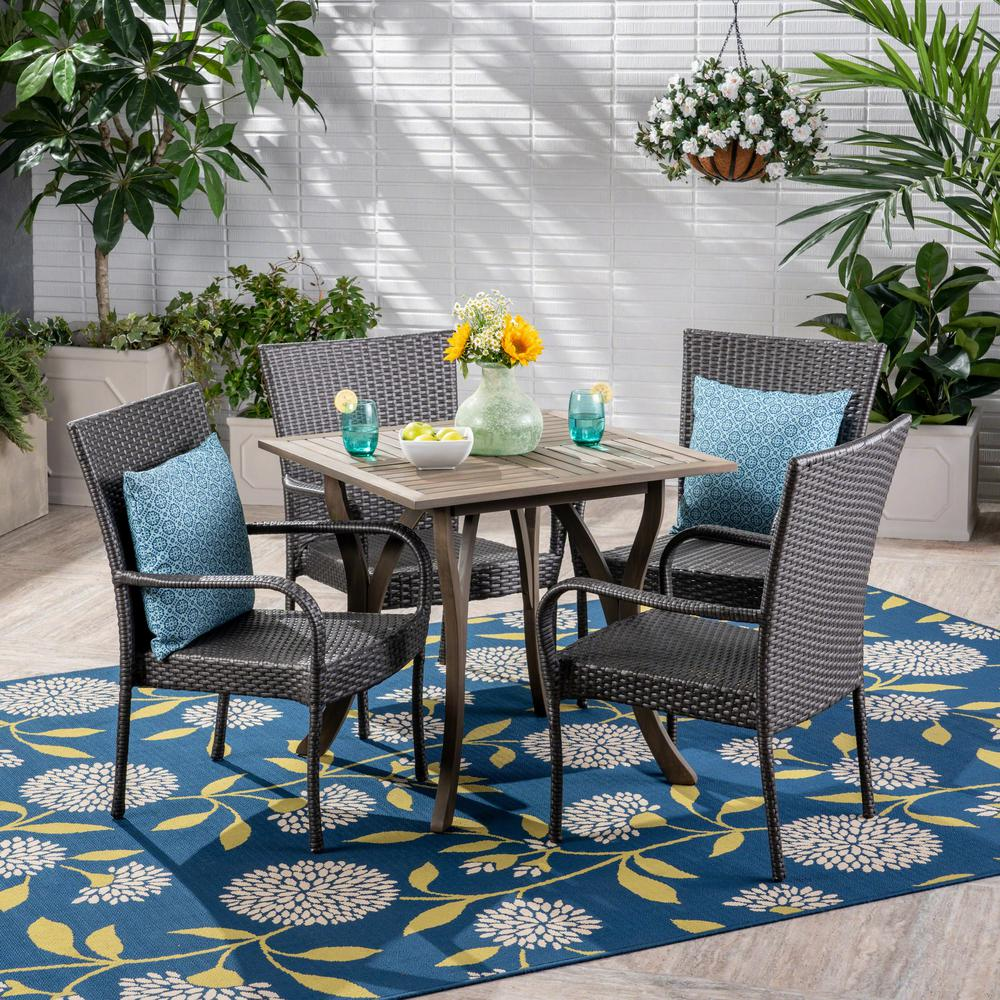 Noble House Briar Gray 5-Piece Wood And Wicker Outdoor