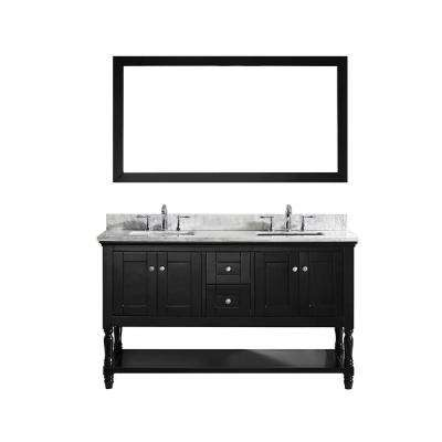 Julianna 60 in. W Bath Vanity in Espresso with Marble Vanity Top in White with Square Basin and Mirror
