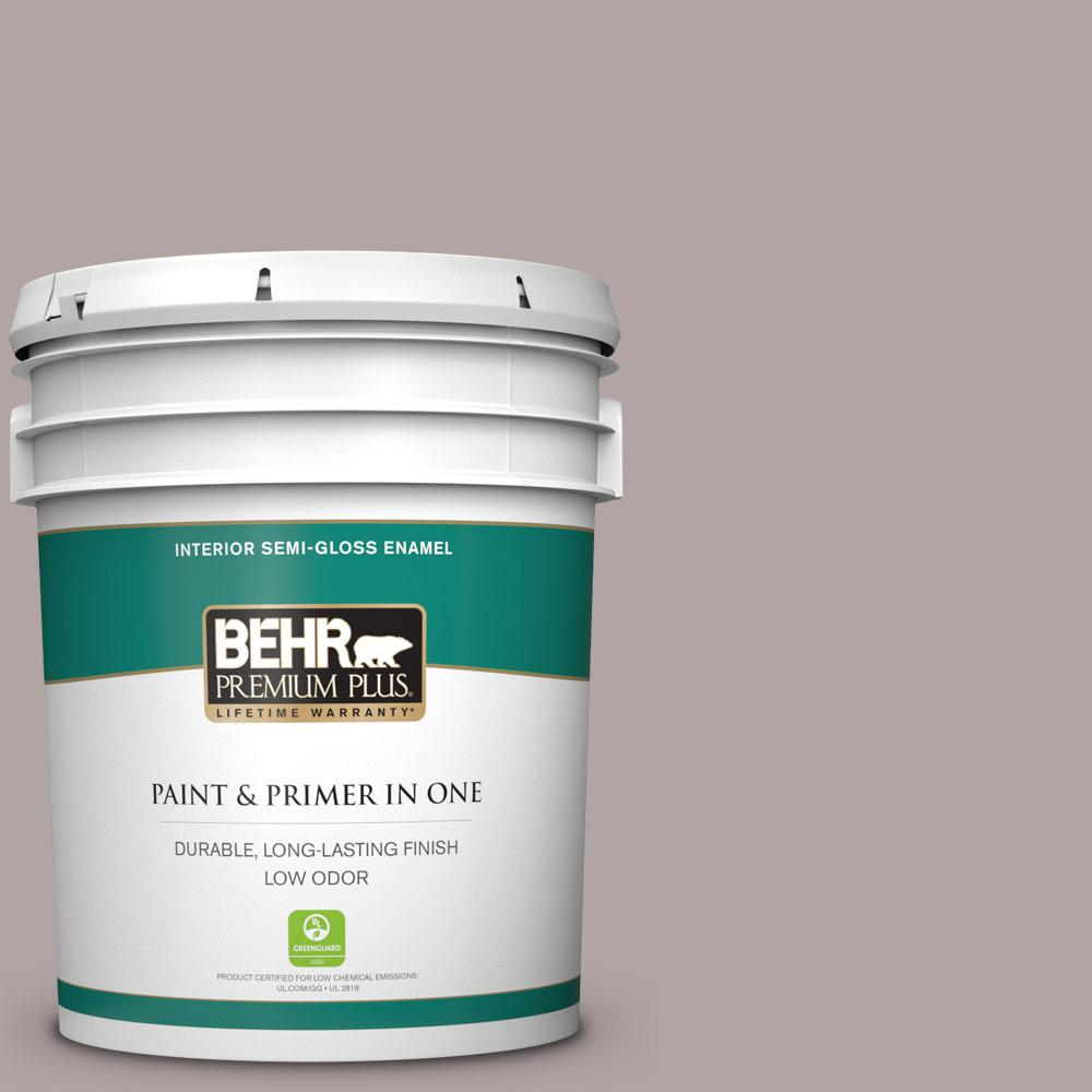 Behr Premium Plus 5 Gal 780b 4 Slate Pebble Semi Gloss Enamel Low Odor Interior Paint And Primer In One 340005 The Home Depot