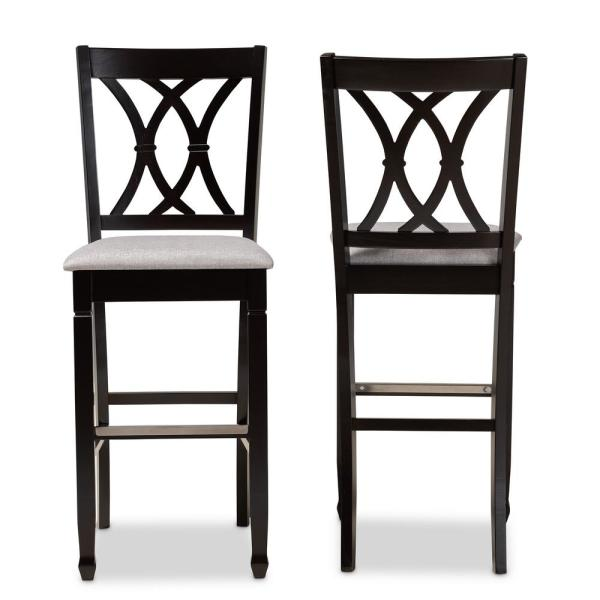 28.3 in. Calista Grey and Espresso Brown Bar Stool (Set of 2)