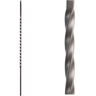 Twist and Basket 44 in. x 0.5 in. Ash Grey Long Single Twist Hollow Wrought Iron Baluster