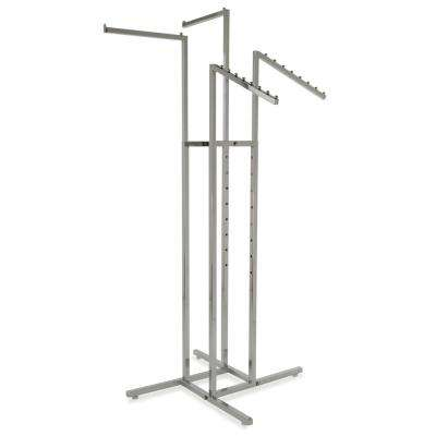 36 in. W x 72 in. H Adjustable Height Chrome Garment Rack with 2-Straight and 2-Slant Arms