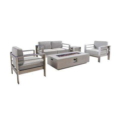 Valentina 5-Piece Aluminum Patio Fire Pit Conversation Set with Sunbrella Cast Silver Cushions and Tank Holder
