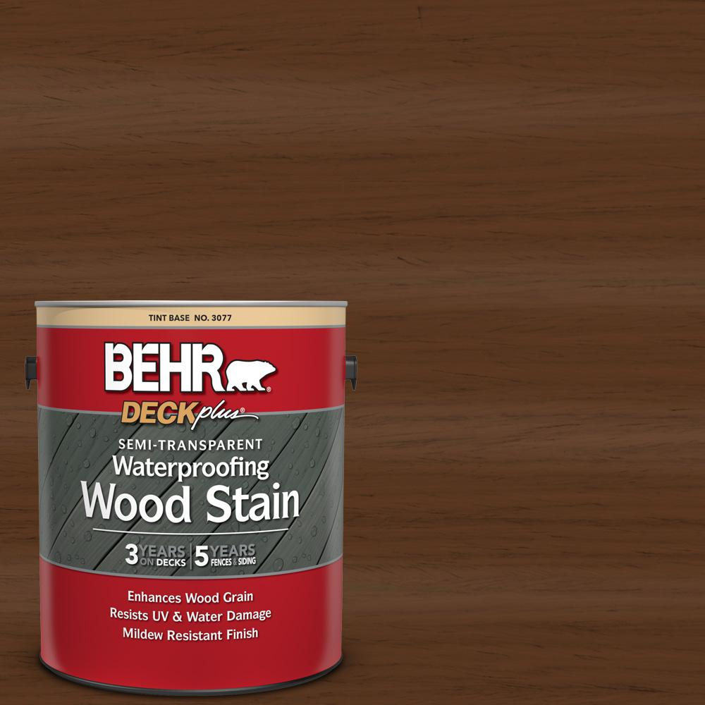 BEHR DECKplus 1 gal. #ST-129 Chocolate Semi-Transparent Waterproofing Exterior Wood Stain