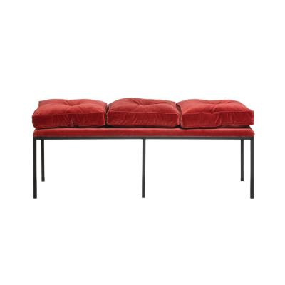 Sienna Velvet Upholstered Bench with Removable Cushions