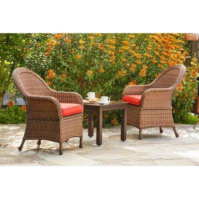 Hacienda 3-Piece Wicker Outdoor Chat Set with Red Cushions