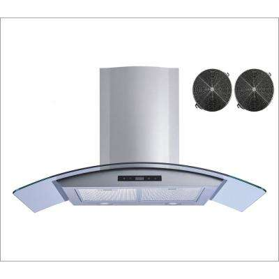 36 in. Convertible Wall Mount Range Hood in Stainless Steel and Glass with Touch Control and Carbon Filters