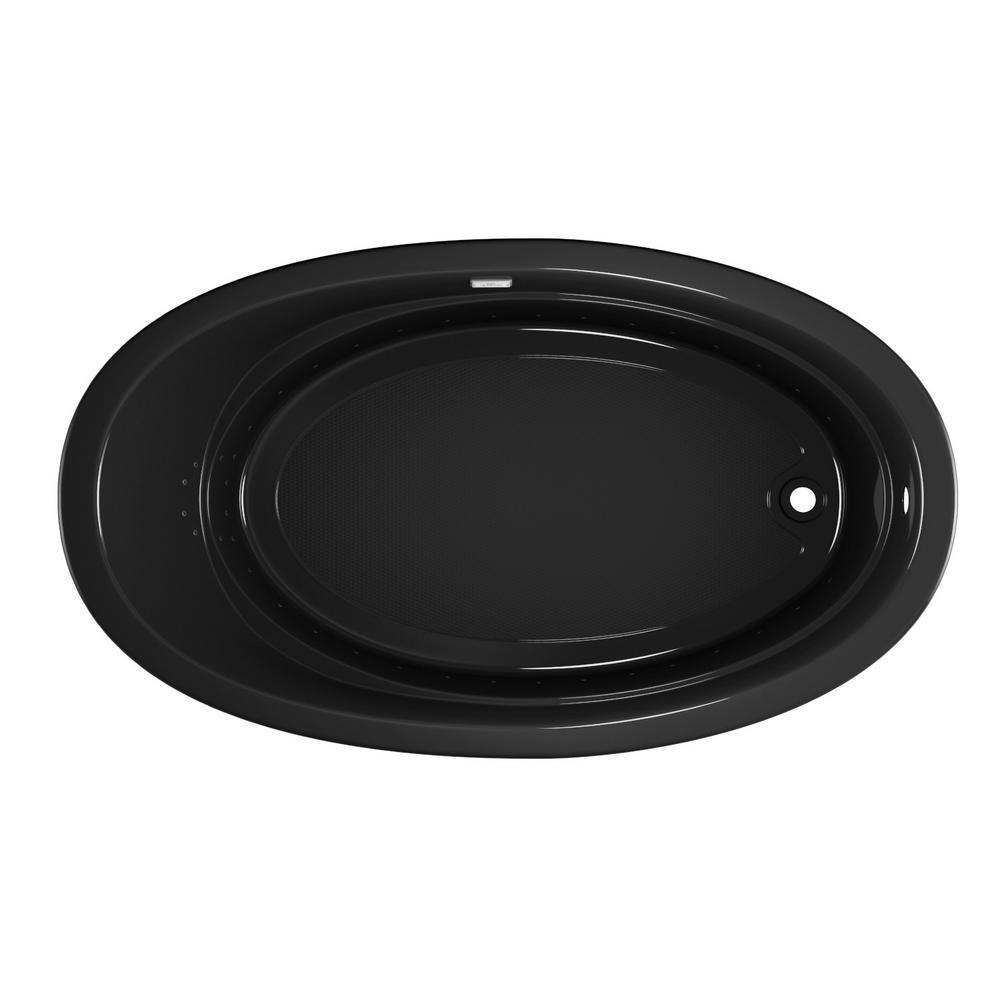 RIVA PURE AIR 72 in. x 42 in. Acrylic Right-Hand Drain Oval Drop-In Air Bath Bathtub in Black