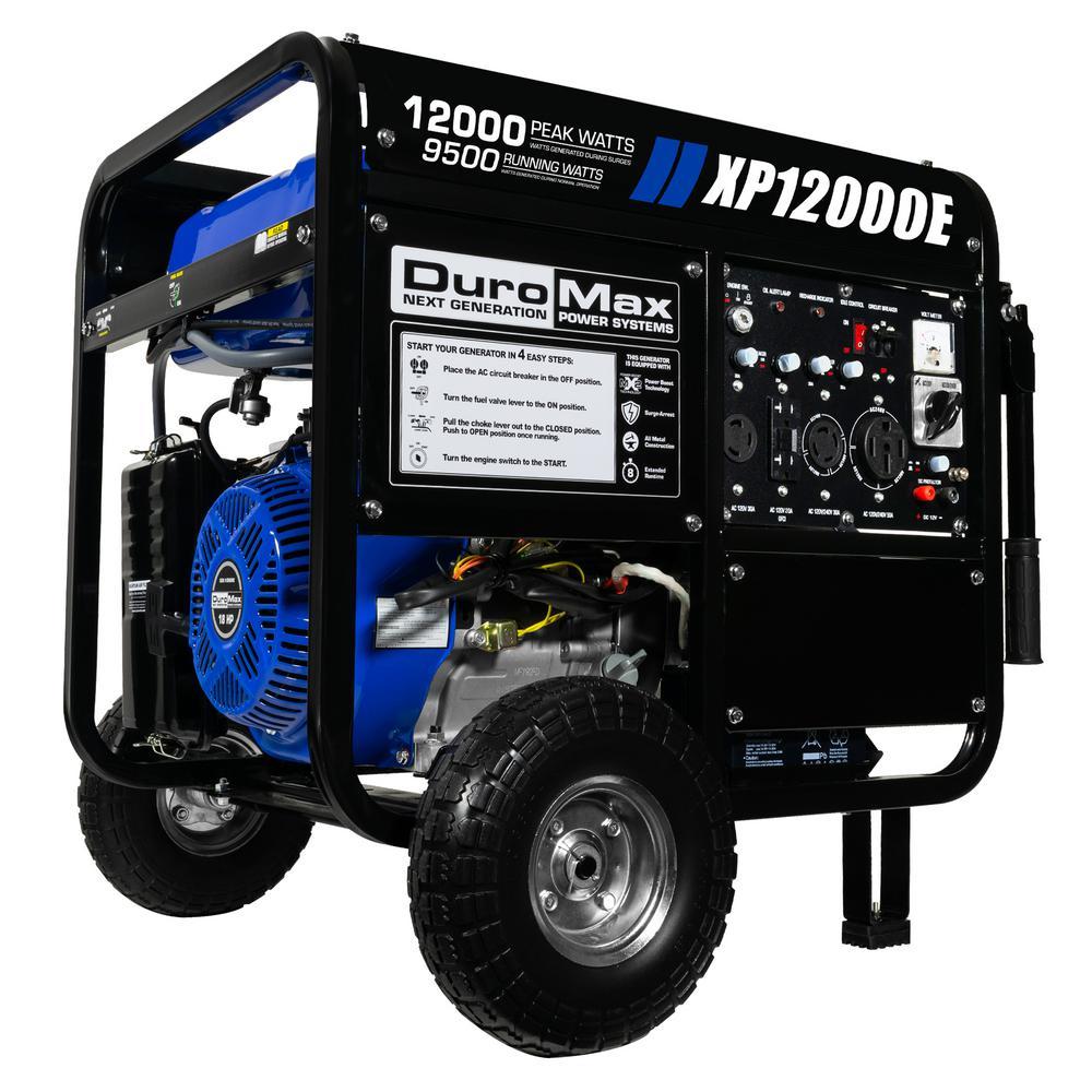 12,000-Watt/9,500-Watt 18 HP Gasoline Powered Portable Electric Start Generator with Wheel Kit