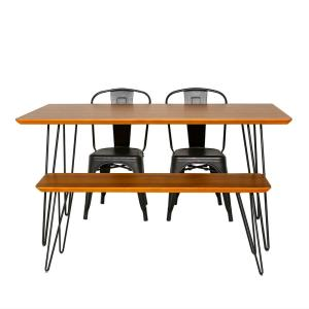 Contemporary Mid Century Modern Urban Square Hairpin 4 Piece Dining Set W Café Chairs Walnut Black