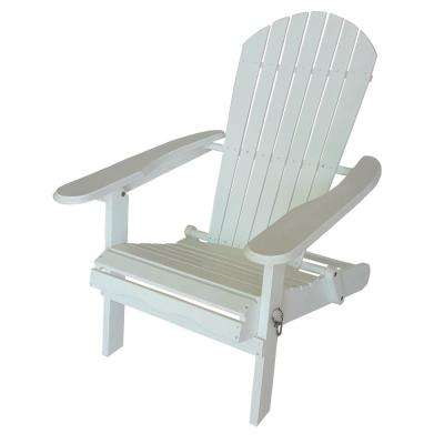 White Wood Folding Adirondack Chair