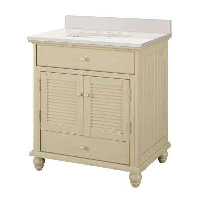 Cottage 31 in. W x 22 in. D Vanity in Antique White with Engineered Marble Vanity Top in Winter White with White Sink