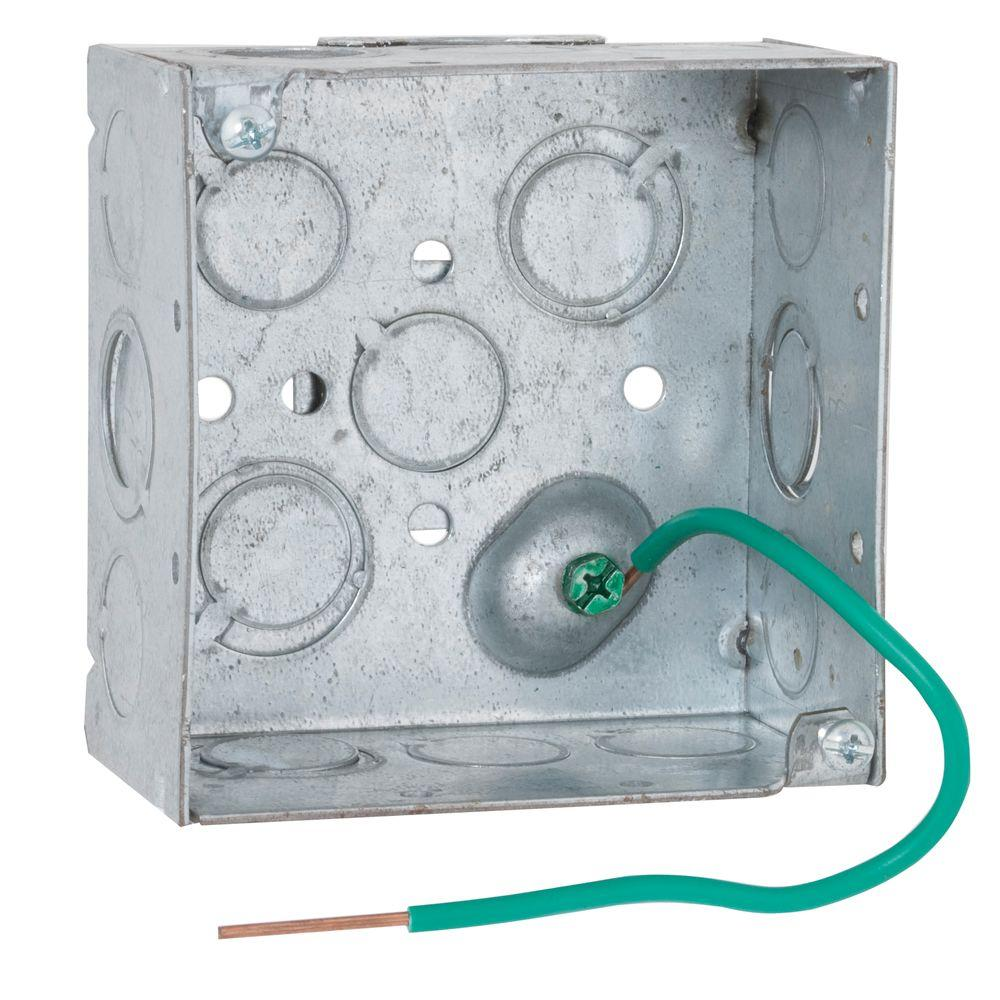 RACO 4 in. Square Welded Box, 2-1/8 Deep with 1/2 & 3/4 in. TKO's, 8 in. #12 Stranded Copper Pigtail and Farside Support