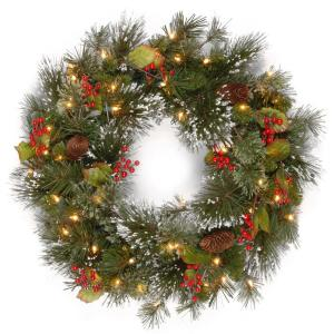 24 in. Wintry Pine Artificial Wreath with Battery Operated Warm White LED Lights