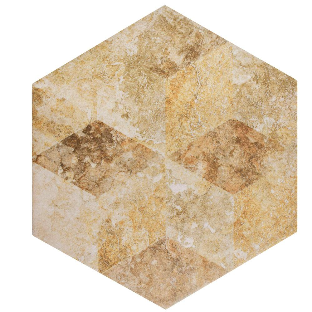 Merola tile stone hex cream decor 8 58 in x 9 78 in porcelain merola tile stone hex cream decor 8 58 in x 9 78 in porcelain floor and wall tile 1119 sq ft case fcd10scx the home depot dailygadgetfo Choice Image