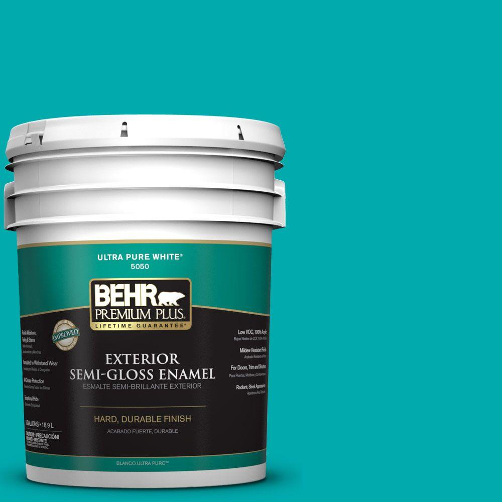 BEHR Premium Plus 5-gal. #P460-5 Fiji Semi-Gloss Enamel Exterior Paint