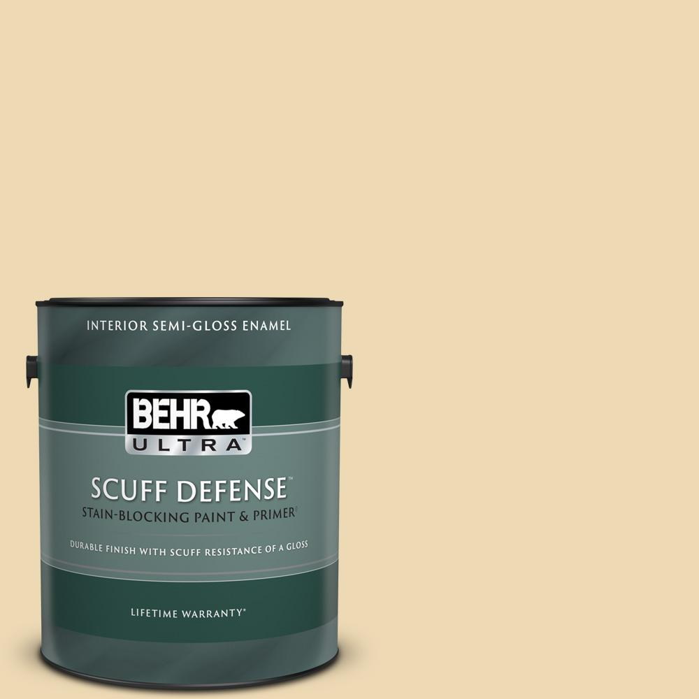 Behr Ultra 1 Gal 340e 3 Bavarian Cream Extra Durable Semi Gloss Enamel Interior Paint Primer 375001 The Home Depot