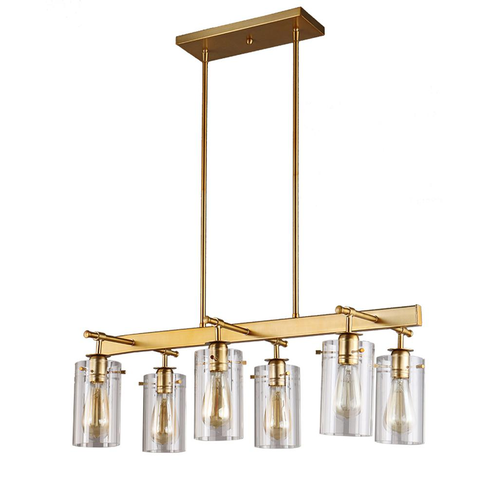 Dsi Brooklyn Collection 6 Light Antique Brass Pendant With Clear