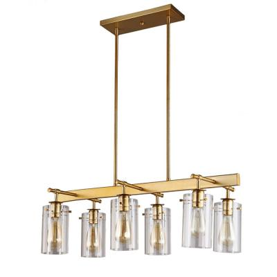 Brooklyn Collection 6-Light Antique Brass Pendant with Clear Glass Shades