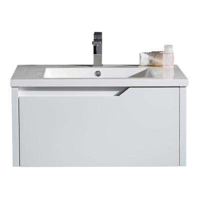 LED Pavo 32 in. W Vanity in White with Resin Vanity Top in White with White Basin