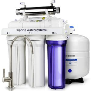 Click here to buy ISPRING 6-Stage with UV Sterilizer Filter 75GPD Under Sink Reverse Osmosis Drinking Water Filtration System by ISPRING.