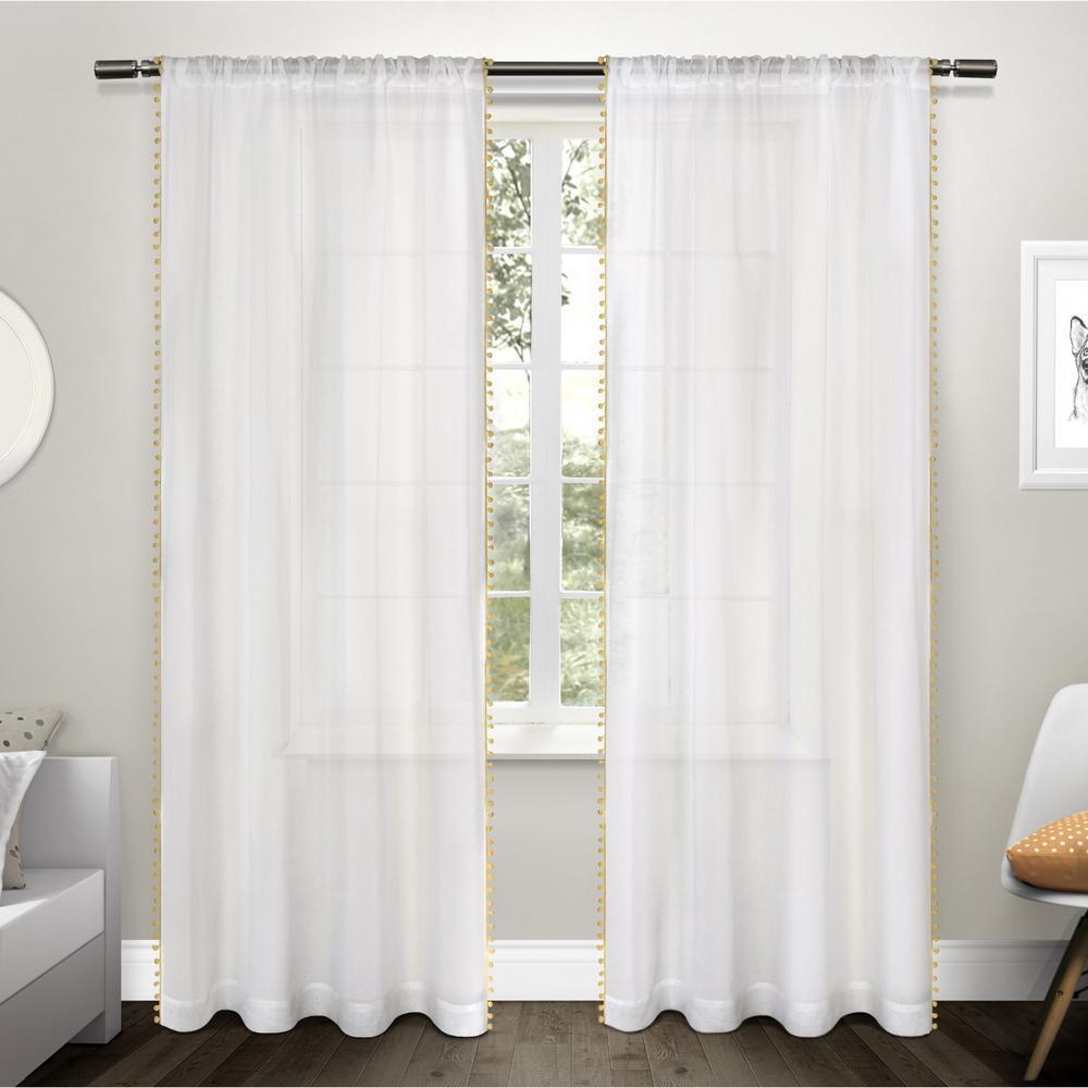 Pom Sundress Yellow Lique Bordered Textured Sheer Rod Pocket Top Window Curtain