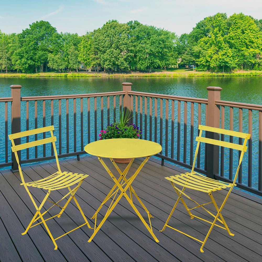 Daphne Yellow 3-Pieces Metal Outdoor Foldable Round Bistro Set
