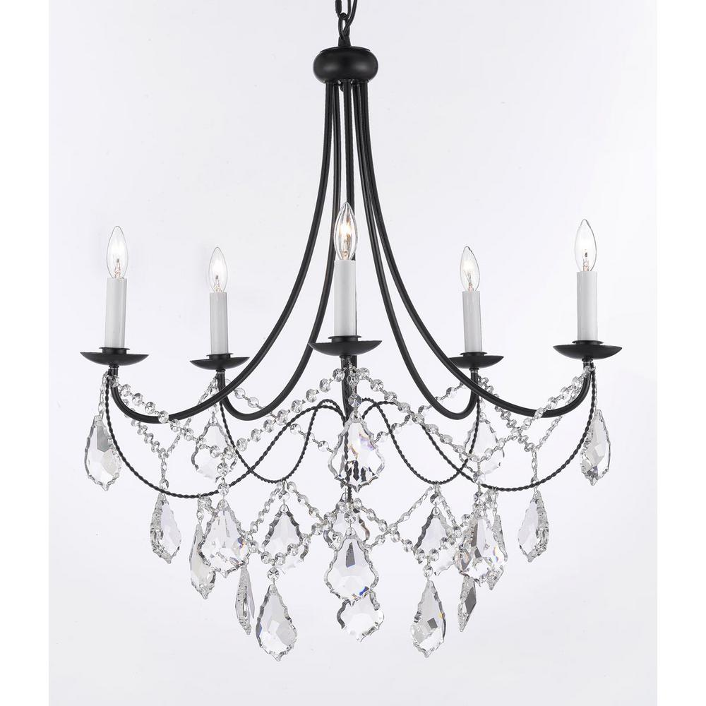 Versailles 5Light Black Iron Chandelier with CrystalT40588 The
