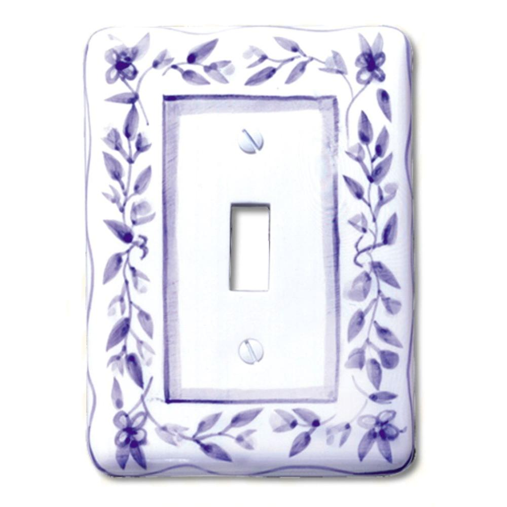 Amerelle Blue Bouquet 1 Toggle Wall Plate