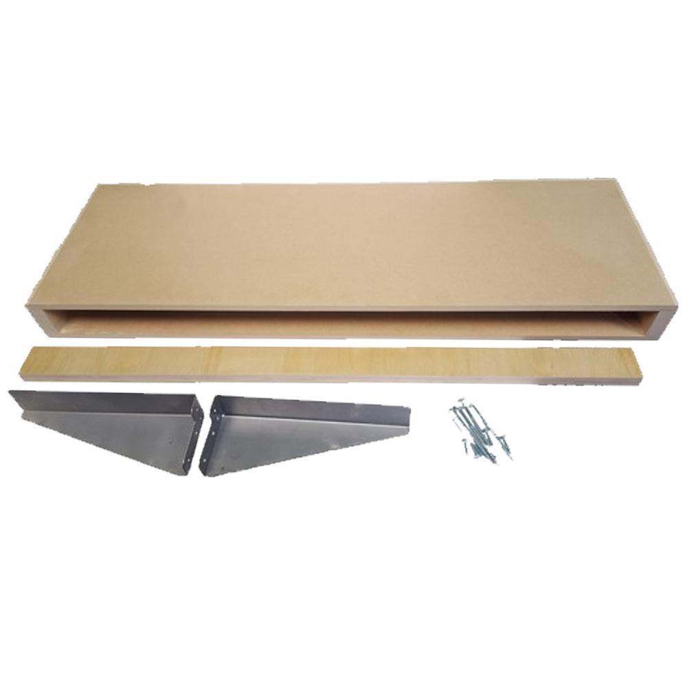 10 in. x 24 in. x 2-1/2 in. MDF Paint Grade Wood Floating Wall Shelf