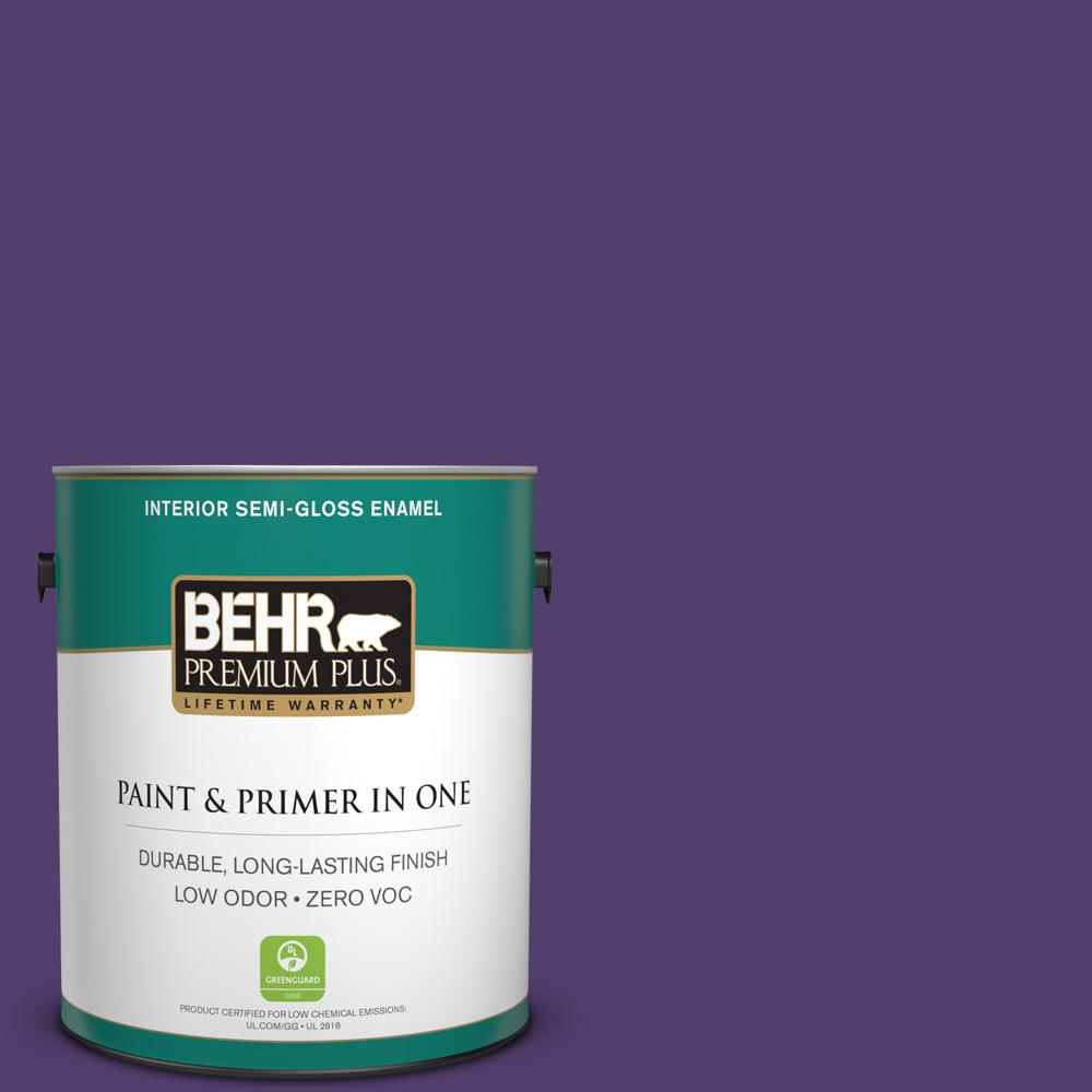 BEHR Premium Plus 1-gal. #P570-7 Proper Purple Semi-Gloss Enamel Interior Paint