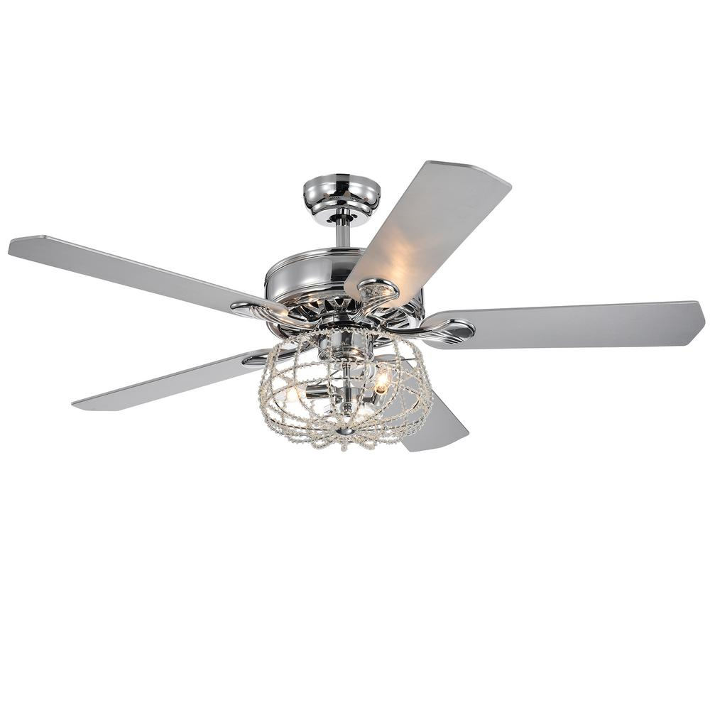 Warehouse of Tiffany Imberts 52 in. Indoor Chrome Remote Controlled Ceiling Fan with Light Kit