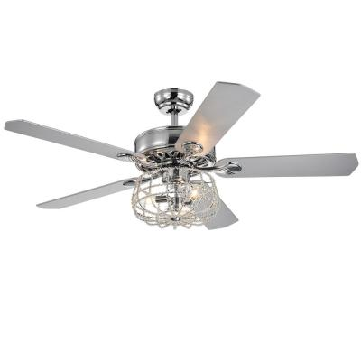Imberts 52 in. Indoor Chrome Remote Controlled Ceiling Fan with Light Kit