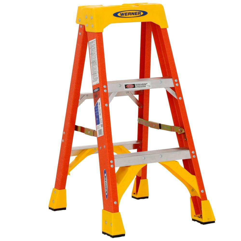 3 ft. Fiberglass Step Ladder with 300 lb. Load Capacity Type