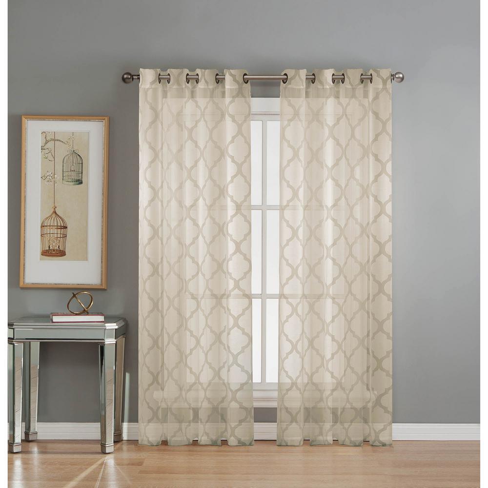 Sheer Lattice Cotton Blend Burnout Sheer 84 in. L Grommet Curtain Panel Pair, Ivory (Set of 2)