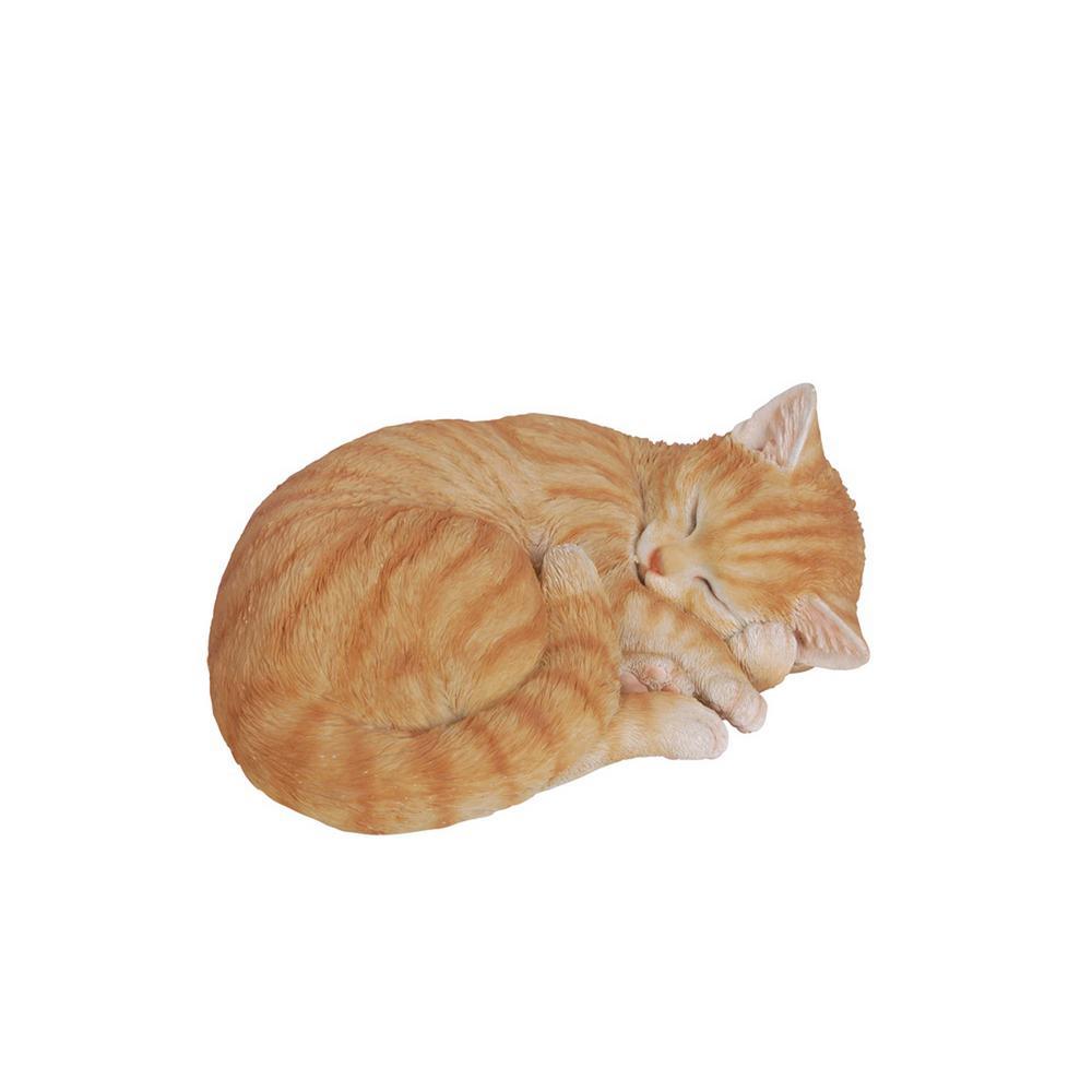 Orange Tabby Sleeping Lying Down Statue