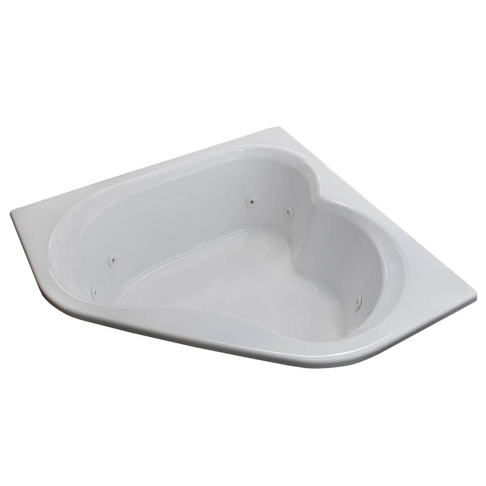 Beryl 5 ft. Acrylic Corner Drop-in Whirlpool Bathtub in White