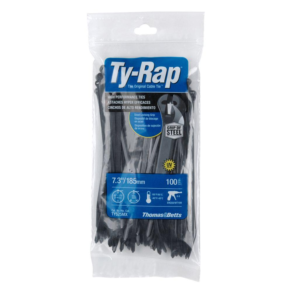 f94f46368d4b 7 in. 50 lb. High Performance Ty-Rap Cable Tie - Black (100-Pack). Overall  rating