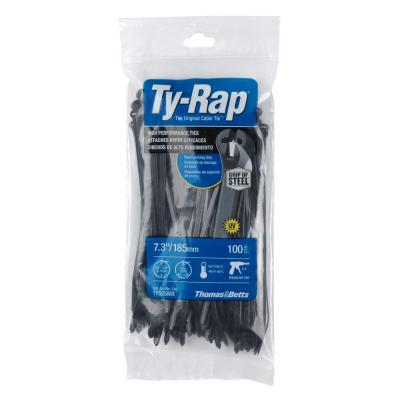 7 in. 50 lb. High Performance Ty-Rap Cable Tie - Black (100-Pack)