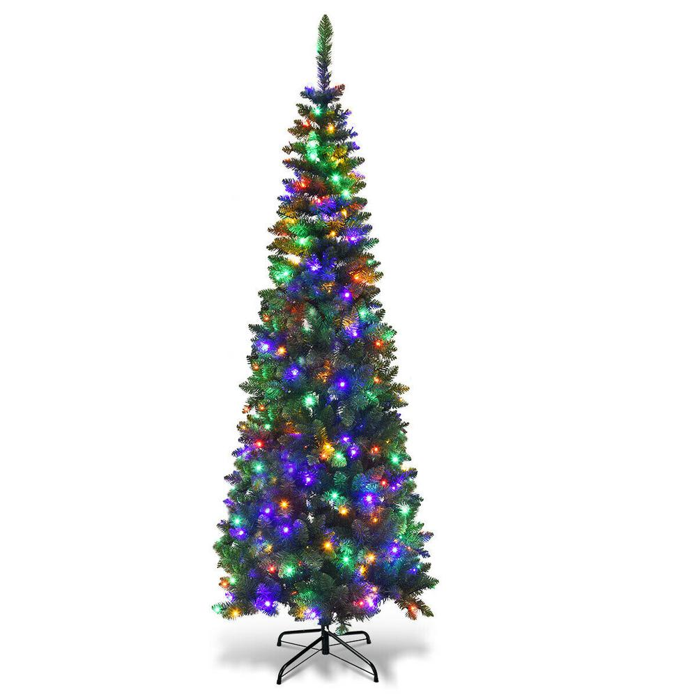Multi Color Pre Lit Christmas Trees: Costway 6.5 Ft. Pre-Lit Hinged Artificial Pencil Christmas