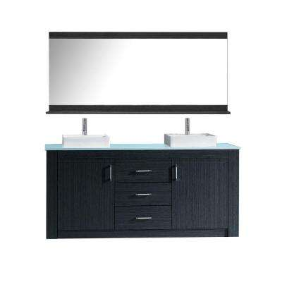 Tavian 60 in. W Bath Vanity in Gray with Glass Vanity Top in Aqua Tempered Glass with Square Basin and Mirror and Faucet